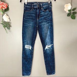 American Eagle super hi rise skinny jeans sz 2